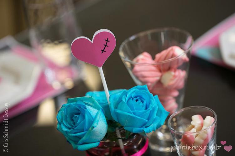 Centro de mesa flor azul