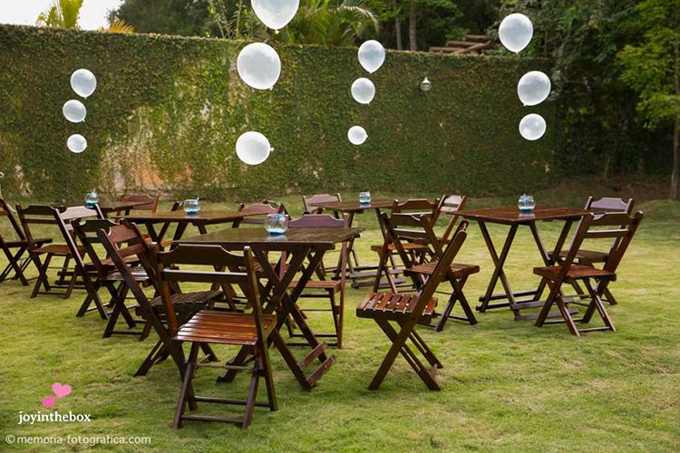 Mesa dos convidados bolhas